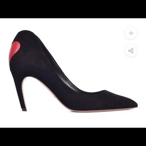 CHRISTIAN DIOR BLACK SUEDE DIORAMOUR HEART PUMPS